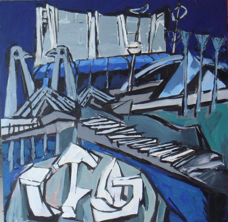 蓝色运动场 油画 100×100 cm frank kitts park wellington oil on canvas 2008