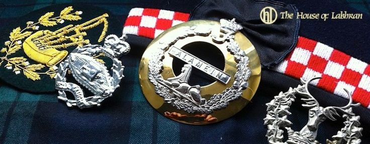 House of Labhran Scottish regimental embroidered insignia - bespoke Pipe Major bagpipe banners and Drum Major's baldrics