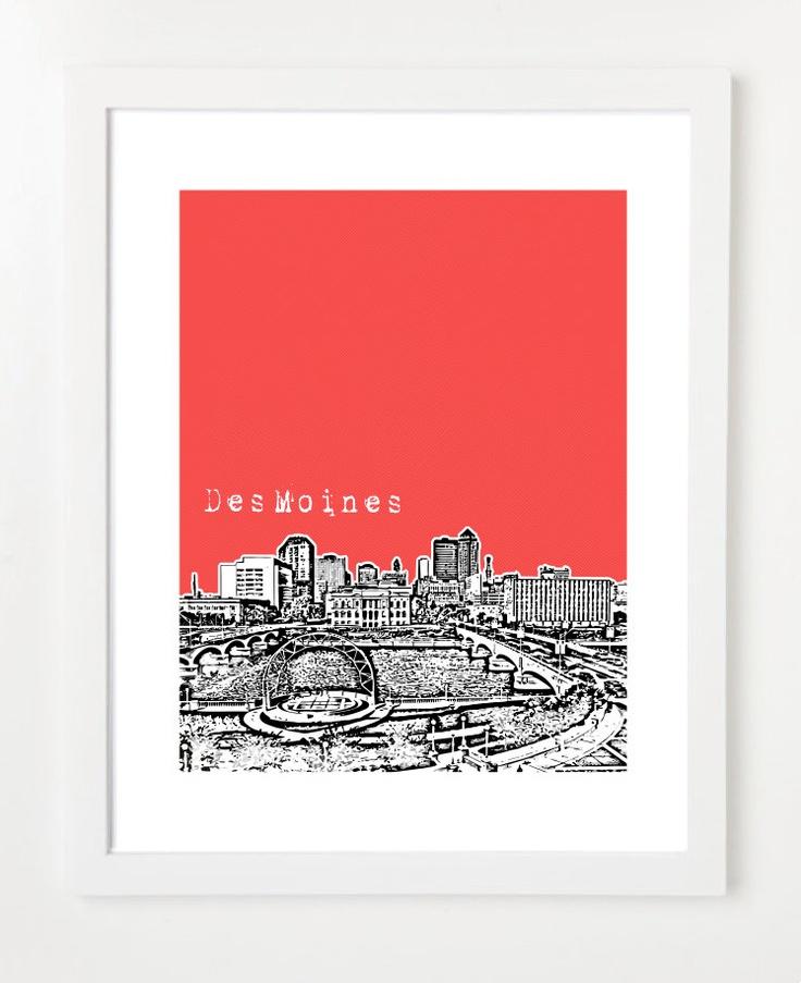 Des Moines Skyline Art Print City Skyline Poster by birdAve, $20.00