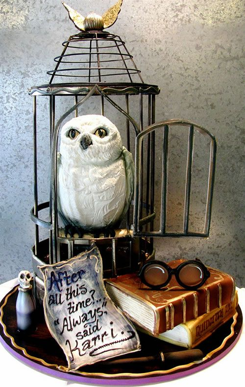 Wedding cake featuring Hedwig the owl from Harry Potter by Rosebud Cakes in Beverly Hills, California. The glasses, wand, and polyjuice potion are all edible.