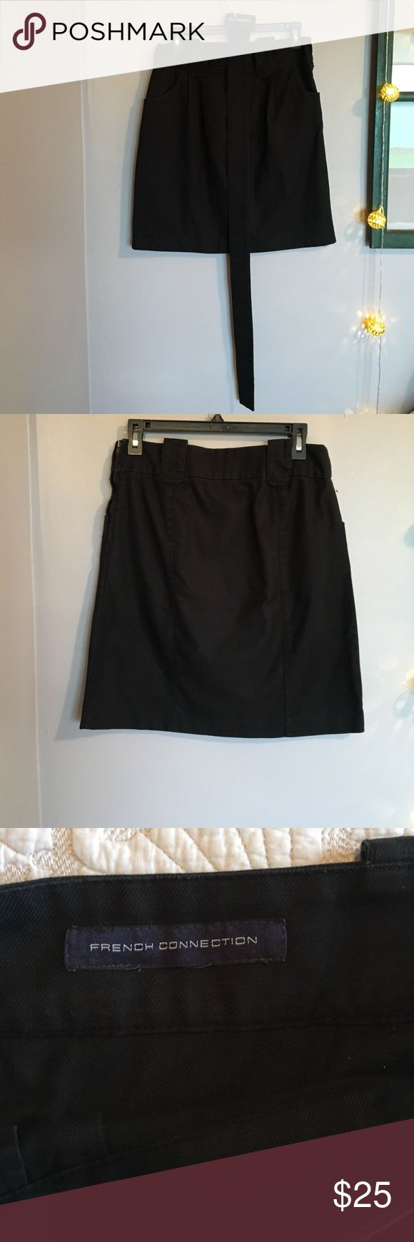 French Connection Black Cotton Skirt w belt Comes with detachable belt.  no size inside but this is a 4.  lightly worn. almost has the look of dark denim.  high waisted. French Connection Skirts Midi