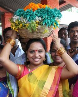 A Telangana festival that celebrates life http://goo.gl/KhLTWH  City soaks in the Bathukamma spirit.. Nizamabad MP Kavitha Kalvakuntla, daughter of Chief Minister KCR, though jumped on the T-movement a bit late, made it her own by kick starting the Telangana Jagruthi. http://www.thehansindia.com/posts/index/2014-09-24/A-Telangana-festival-that-celebrates-life-108900