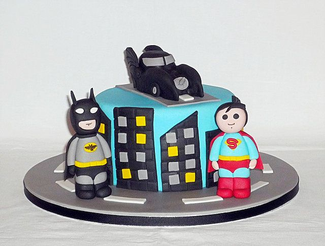 Batman v Superman comic superheroes birthday cake by EvaRose Cakes