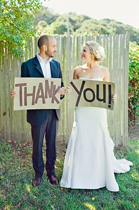 If you take a picture like this during the wedding, then you'll have a cool thank you card!
