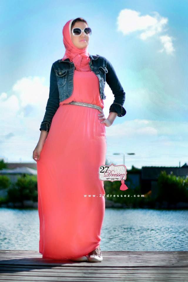 coral maxi dress Hijab casual outfits by 27dressesz http://www.justtrendygirls.com/hijab-casual-outfits-by-27dressesz/