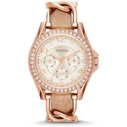 Fossil Women's Riley Chain and Bone Leather Strap Watch - Rose Gold