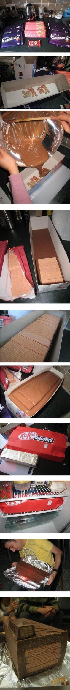 How ridiculous XD ....But awesome! HOW TO MAKE: A GIANT KIT KAT BAR! This would be such a fun gift!