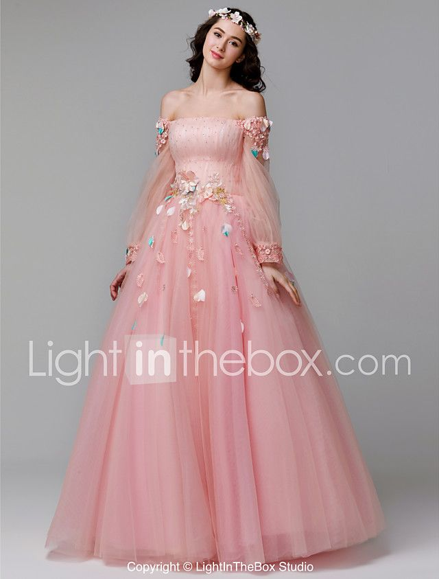 A Line Off Shoulder Floor Length Lace Tulle Prom Formal Evening