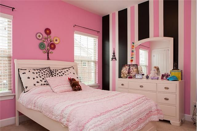 Cute Girls Room With Pink White And Black Accent Wall