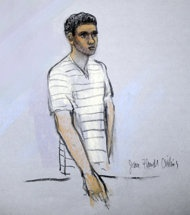 FILE - This courtroom sketch shows defendant Robel Phillipos appearing in front of Federal Magistrate Marianne Bowler at the Moakley Federal Courthouse in Boston, Mass. on Wednesday, May 1, 2013. Phillipos, and two other college friends of Boston Marathon bombing suspect Dzhokhar Tsarnaev, were arrested and charged with removing a backpack containing hollowed-out fireworks from Tsarnaevs dorm room. (AP Photo/Jane Flavell Collins)