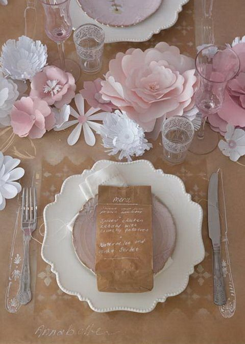 Love this -- the chalk outlines on the butcher paper table cloth for the utensils. I could do this with my granddaughter! This is so lovely, though, it's easy to miss the whimsy!