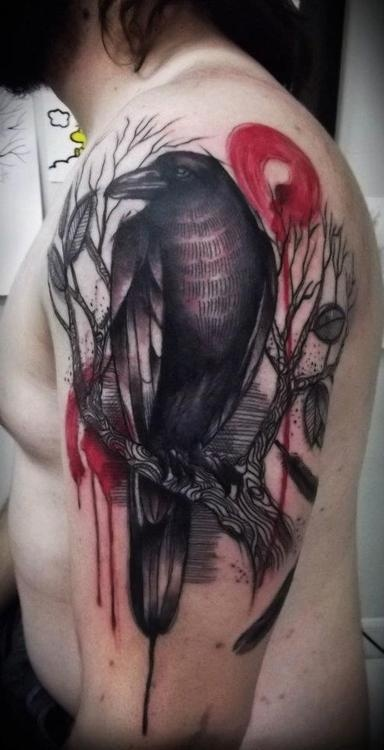 Done by Maxwell Alves from El Cuervo Ink.Tattoo Ideas, El Cuervo, Cuervo Ink, Birds Tattoo, Maxwell Alves, Ravens Tattoo, Raven Tattoo, Tattoo Design, Crows Tattoo