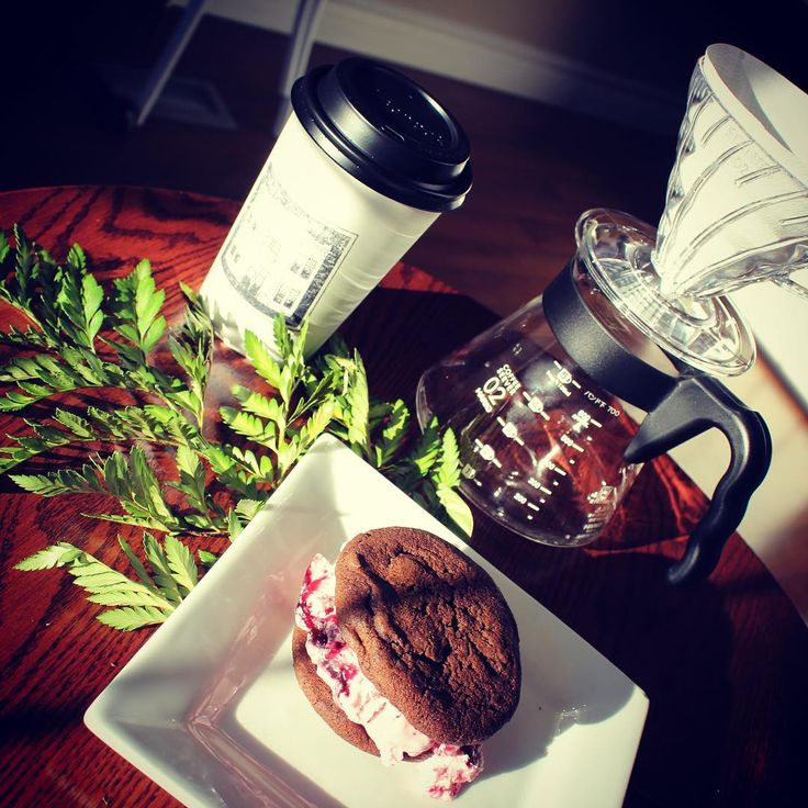 Double Fudge Cookie Raspberry Ice Cream Sandwich and a Pour Over Coffee. It's gonna be a good night!  .  .  .  .  .  #icecream #icecreamsandwich #DutchmenDairy #freshbakedcookies #doublechocolate #extradecadent #coffee #coffeeaddicts #pourover #local #localbusiness #supportlocal #eatlocal #camrose #alberta #canada #MainStreet1908