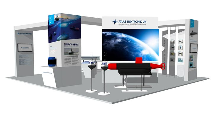 A 10x9m exhibition stand was created for ATLAS Elektronik for the Undersea Defence Technology trade show in Liverpool. The design made room to display physical large scale products, incorporate an 8 person meeting room, and a freestanding bar. The stand also housed a kitchen, mounted digital screens, and a dramatic LED video wall. #exhibitionstand #exhibitions #ATLASelektronik #marine #technology #MoD #defence #industry #UDT #tradeshow