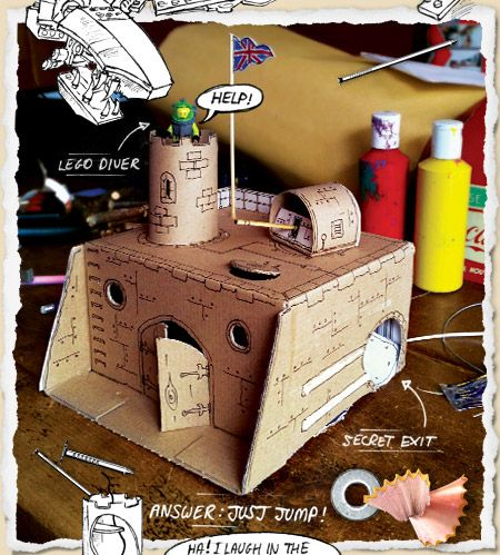 Precut box shapes & bag of mini soldiers as inspiration to decorate a castle or fort