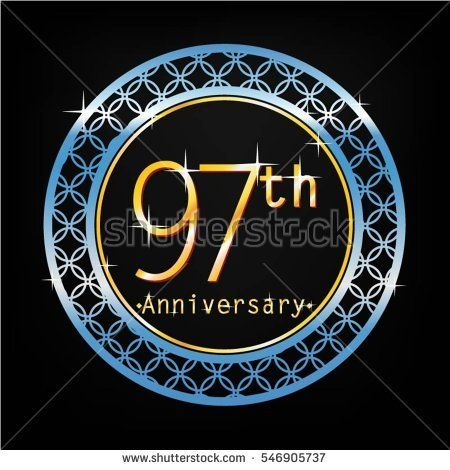 black background and blue circle 97th anniversary for business and various event
