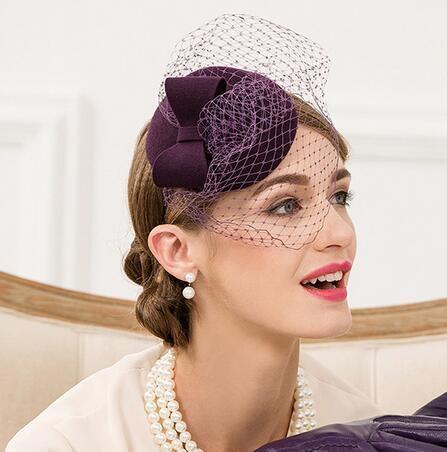 Purple pillbox hat with veil for women elegant bow occasion hats ... b2cc59b62874