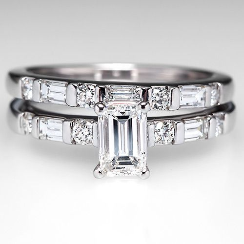 **maybe something like this wedding band, only no diamonds, just baguettes with thicker silver chunks inbetween.  Would help my diamond engagement band stand out and not compete with it?**  Emerald+Cut+Diamond+Engagement+Ring+Wedding+Set+14k+White+Gold
