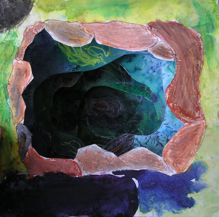 Tunnel book by Justýna - brilliant water colours, salt, oil pastels and soft pastels