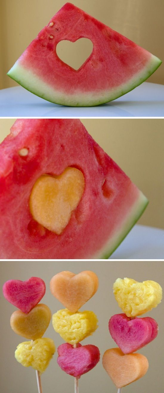 Make your fruit scream love for Valentines day. Using a heart shaped cookie cutter, cut your fruit into hearts and stack on a skewer.