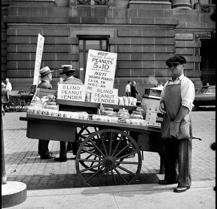"""""""Blind street vendor"""" NYC, 1949 Photo: Burt Glinn"""