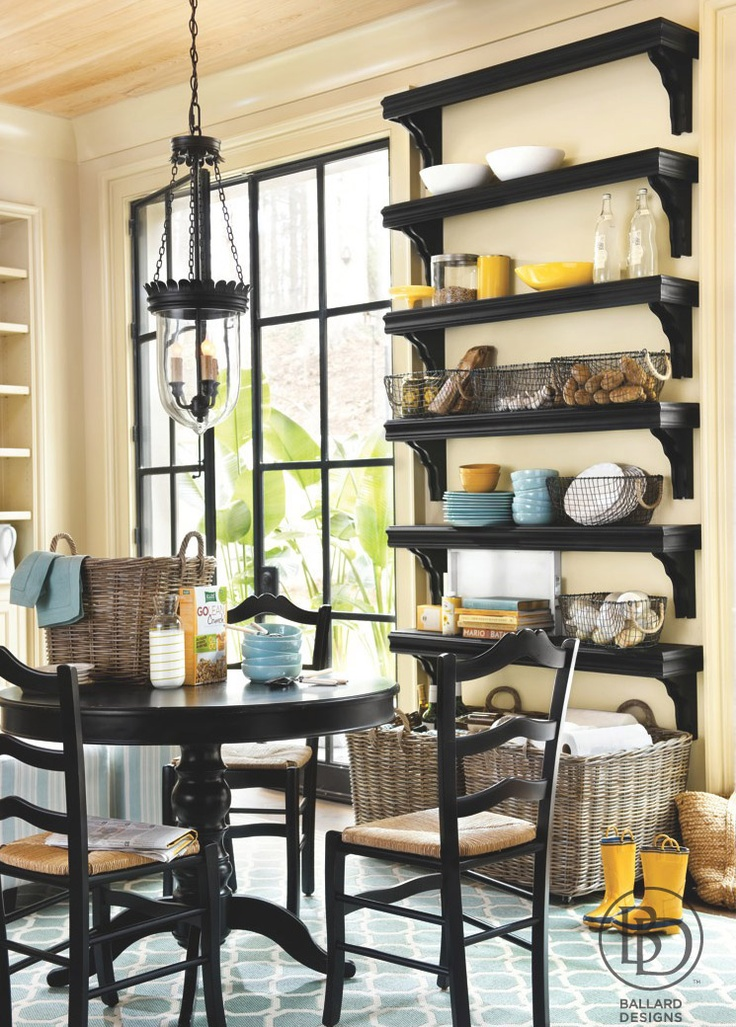 love the shelves multiple shelves without being closed in like a unit would be - Dining Room Wall Cabinets