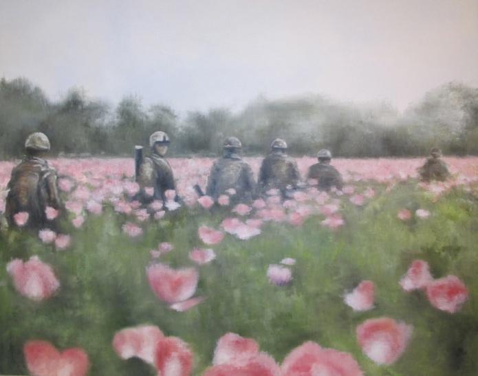 Patrulje i opiumsmark. Mathilde Fenger. Olie på lærred 2012