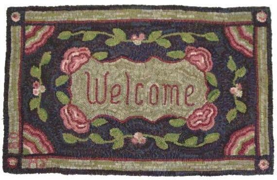 Rug Hooking Pattern Welcome Floral 20 x 32 by DesignsInWool, #etsy 40.00