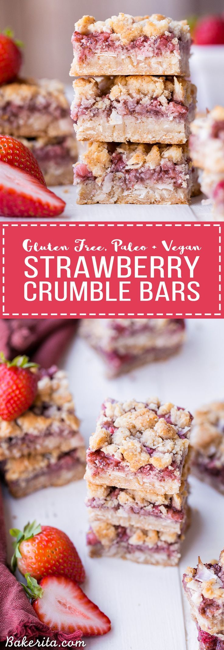 These Strawberry Crumble Bars have an irresistible crust and crumble topping that's full of texture - no oats necessary! These fruity bars are gluten-free, paleo, and vegan.