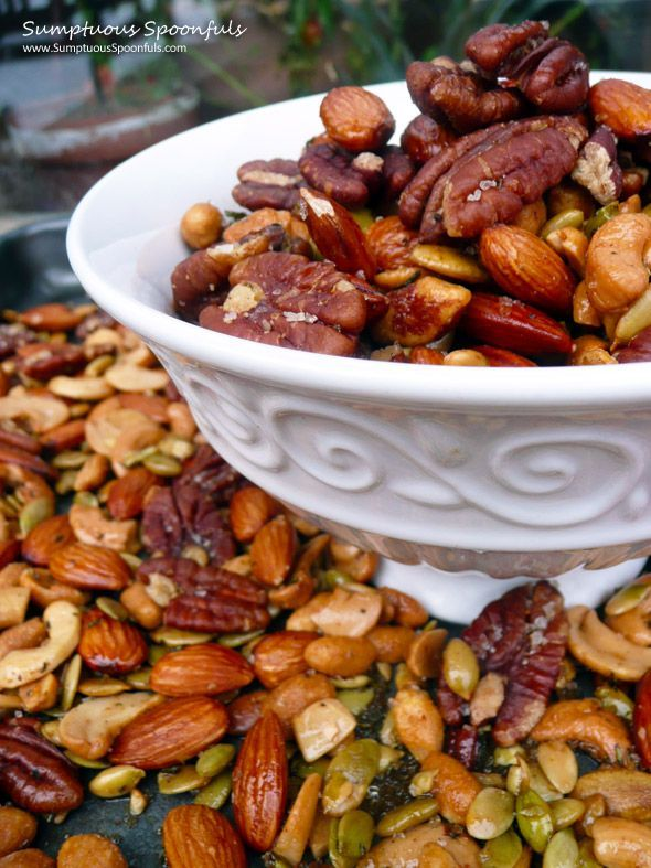 Italian Rosemary Garlic Spiced Nuts:  5 cups assorted unsalted, raw mixed nuts  1/4 cup extra virgin olive oil  1 Tablespoon fresh rosemary, finely chopped  3 teaspoons flaky sea salt  1/4 teaspoon cayenne pepper  1/4 teaspoon granulated garlic  1/4 teaspoon Italian Seasoning 350 degrees: 10-15 min
