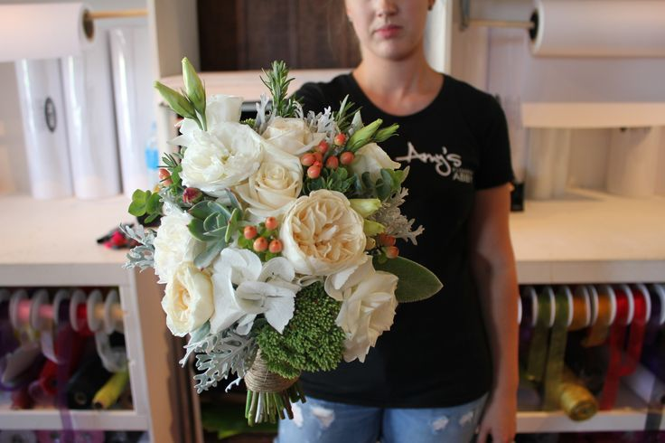 White, cream and peach bouquet with hypericum berries and succulents - Rustic wedding flowers made by Amy's Flowers