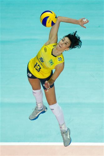 FIVB Hero Sheilla Castro from Brazil attacking