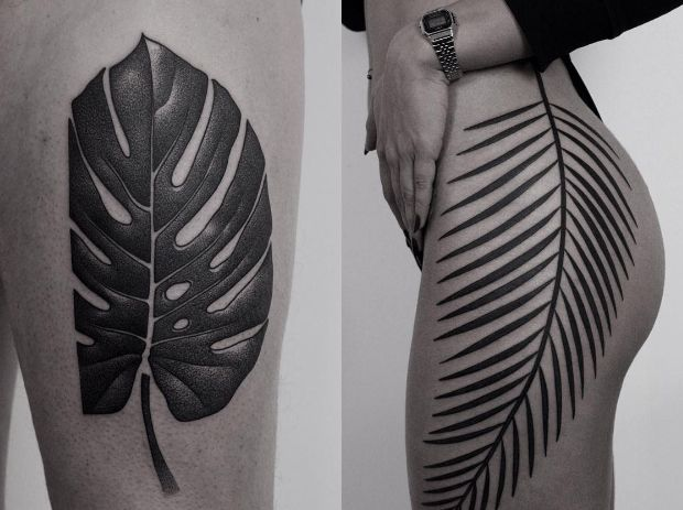 Ilya Brezinski cria desenhos de traços simples usando tinta preta, pontilhismo e um toque surreal, fazendo-os incrivelmente interagir com o corpo.