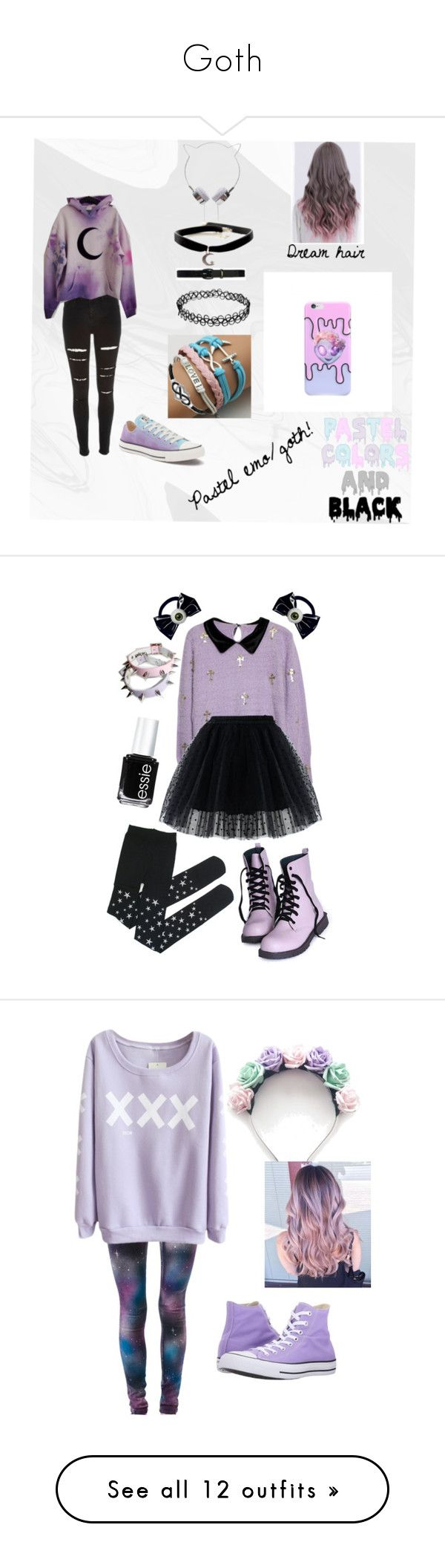 """""""Goth"""" by tacocatmolly ❤ liked on Polyvore featuring shoes, sneakers, black white shoes, black and white shoes, black and white trainer, white and black shoes, black and white sneakers, River Island, Converse and Jewel Exclusive"""