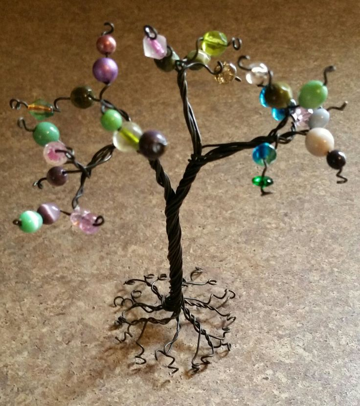 My first wire and bead tree!  Needs a little work, but not too bad.