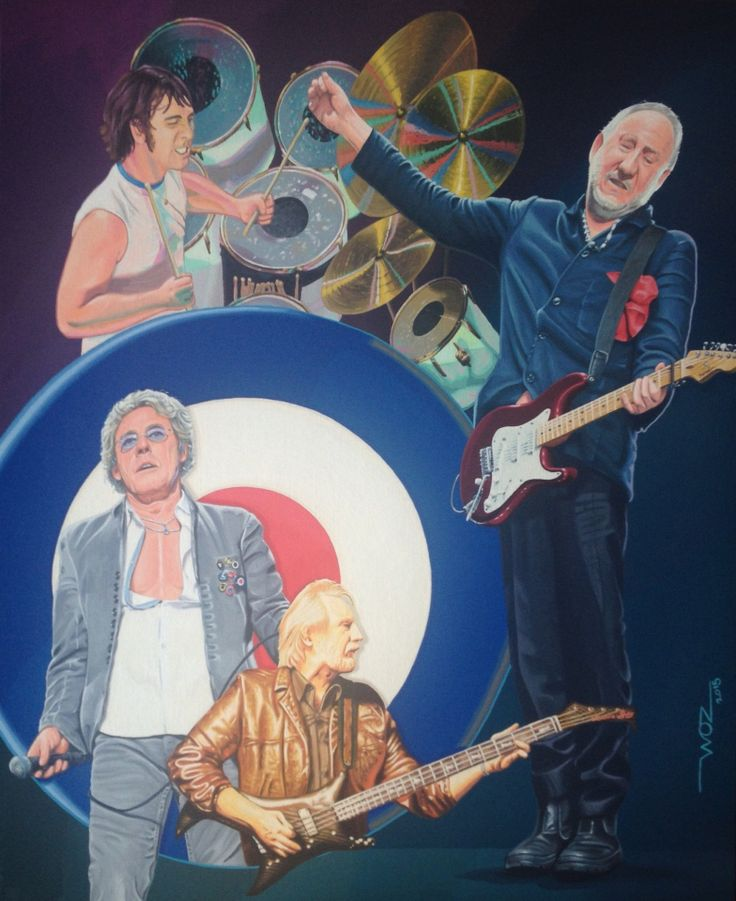 THE WHO Artist WOZ fine art painting 'The Who 1' acrylic on canvas 16x20inch. Limited edition prints available on request.