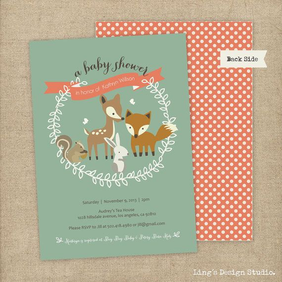 woodland invitation woodland baby shower invitation set printable or printed flat cards on etsy