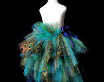Adult Women's Peacock Feather Bustle Tutu...Peacock Halloween Costume, Masquerade, Mardi Gras Peacock Skirt