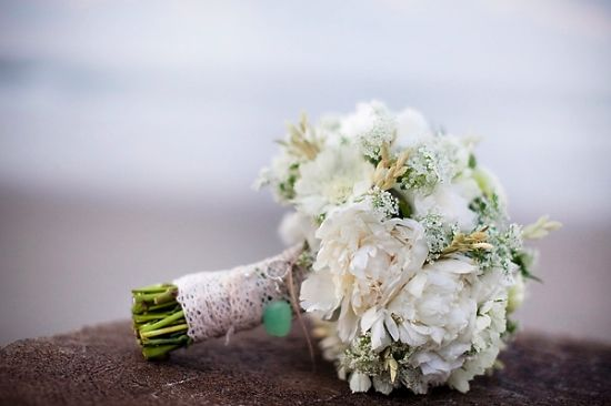 Romantic whites with lace bouquet wrap