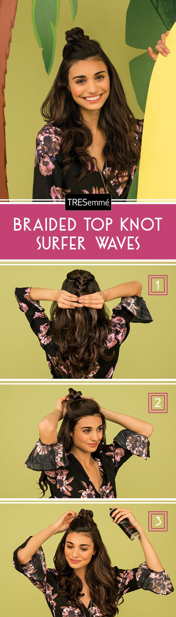 Can't decide on what to do with your hair? Why not do it all? This look combines gorgeous waves, braids, AND a topknot. It's easier than it looks!  step 1: Section off the hair at the top of your head and create a three strand braid (or a fishtail if you're feeling fancy.)  step 2: Wrap the braid into a topknot and pin in place.  step 3: Spray TRESemmé Perfectly (un)Done Hairspray 10-12 inches from your topknot to keep your look from getting tousled.