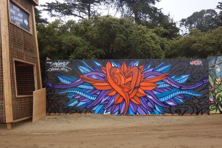 Apexer street art mural at 2013 Outside Lands Festival in San Francisco Golden Gate Park