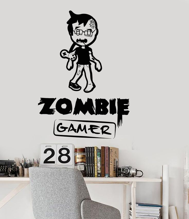 Vinyl Wall Decal Zombie Gamer Video Games Play Room Boy Teen Stickers (ig3051)