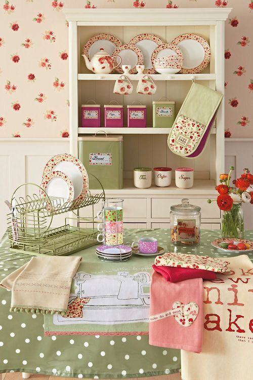 love.....This seems very calming! Before I enlarged it I thought it was cherries not flowers,but cherries would look good too. I really like that double decker lt.green dish drying rack! I need to google that unless someone reading this knows where I can get one?