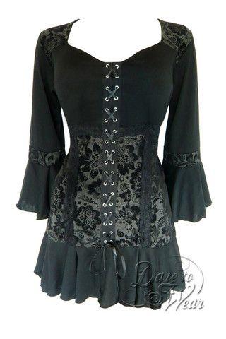 Dare To Wear Victorian Gothic Women's Cabaret Corset Top Black Dahlia S-5XL
