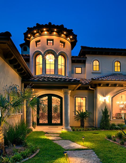 Mediterranean tuscan home exterior mediterranean tuscan for Beautiful home front design