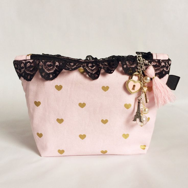 Pink and Gold Small Makeup Pouch; Charm Included by strawberriesncreamm on Etsy