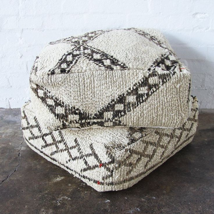 Nouvelle Nomad BENI GREY Vintage Moroccan Beni Ourain floor cushions