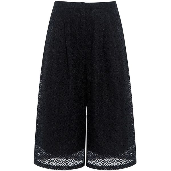 Edit - Culottes (4.749.305 IDR) ❤ liked on Polyvore featuring pants, capris, cropped capri pants, sheer pants, crop pants, cropped trousers and see through pants