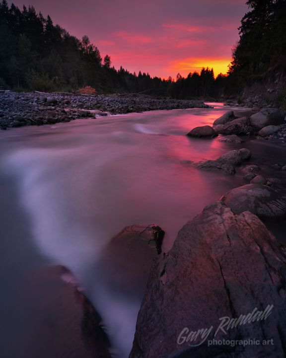 A Smoke Filled Sunset by Gary Randall  The Sandy River ~ Oregon