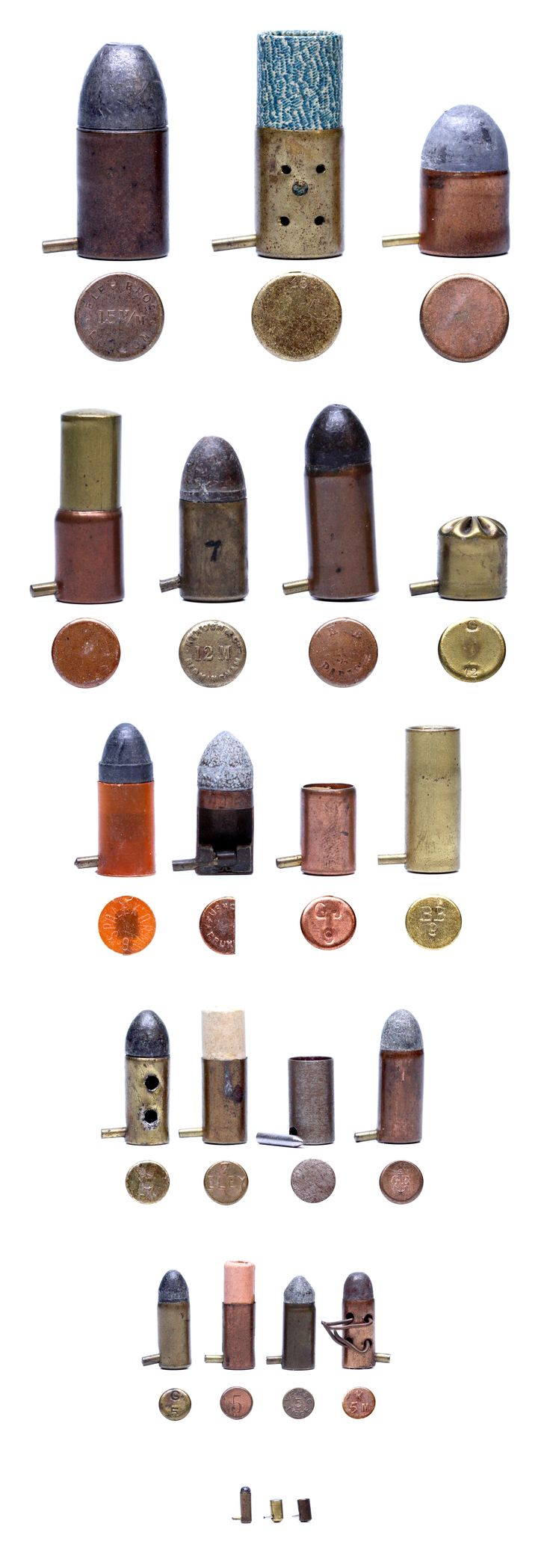 Selection of Lefaucheux Pinfire Cartridges I uploaded for the pinfire page on Wikipedia